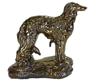 Glazed Borzoi Figurine/Ceramic Cremation Urn.