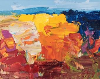 Original Landscape Painting Oil Canvas Art Abstract Painting Colorful Landscape Modern Art Canvas Large Wall Art for Living Room Bedroom