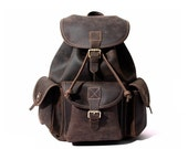 Large Handmade Vintage Leather Backpack Univercity College Backpack School  Backpack Leather Rucksack Travel Backpack