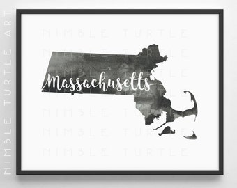 Massachusetts State Outline Watercolor -  Printable Massachusetts Wall Art  -  Comes with Blank State Outline SVG  -  Gallery Wall Art