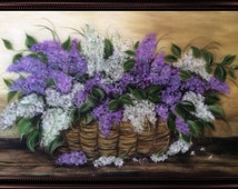 """Wool painting """"Lilacs in the basket"""", a bouquet of flowers, gift for birthday"""