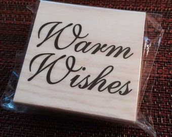 """25%OFF SALE NEW Michaels Wood Rubber Stamp """"Warm Wishes"""""""