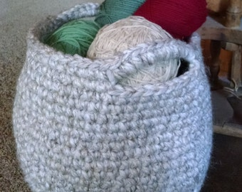 "Basket With Handles Bone Colored Crocheted  10""H x 121/2""D"
