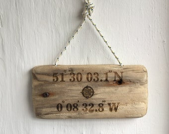 Special Place Sign.GPS coordinate engraved driftwood sign. QR code  to point and find your spot on google maps! .Hi-tech handmade gift !