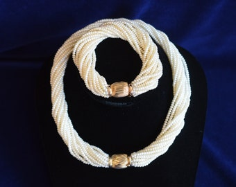 Classic Multi Strand Pearl Necklace & Bracelet Combination