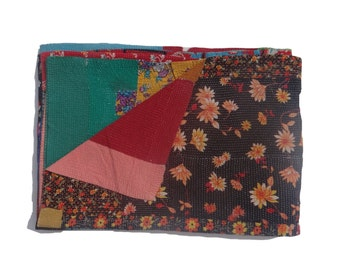 Indian Gudri  Reversible Kantha Quilt  Kantha Handmade Throw Cotton Thread Stich Kantha Sari Quilt