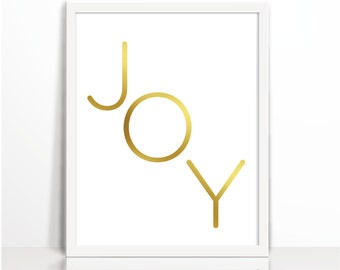 Joy, Positive Quote, Gold, Typography Print, Art Printable, Wall Decor, Positive Thinking, Cubical Decor, Gold Printable