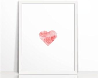 Heart, Modern Decor, Digital Prints, Watercolor Art Printable, Wall Decor, Scandinavian Poster, love, wall art, Instant Download