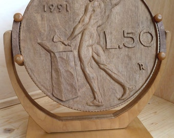 50 lire coin relief