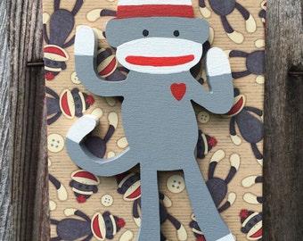 Sock Monkey 3-D Wooden Sign