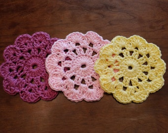 Crocheted large flower coasters - set of three