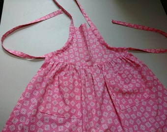 Pink Kids Apron; Pink Child's Apron; Child's Adjustable Apron with Pockets; Apron