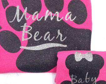 Matching Mother/ Daughter Bear/Baby Bear Glitter T-shirts