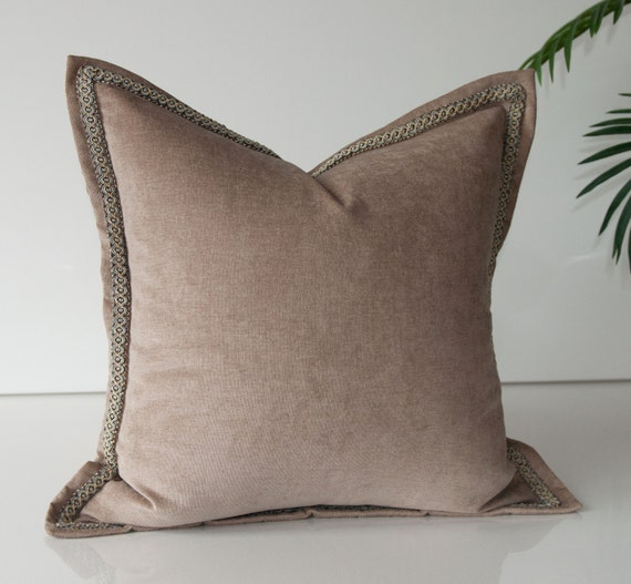Beige Throw Pillow Cover Solid Light Brown Pillow Cover