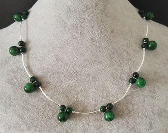 Jade necklace- 6-10mm green jade necklace 17 inch