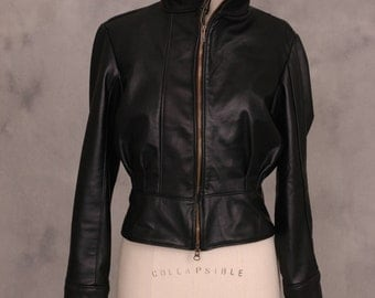 Leather Bomber Jacket  Size Medium (8/10)