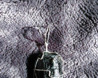 Black Tourmaline Wire Wrapped Pendant
