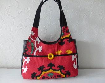 Handbag, canvas, cotton and linen printed with Bohemian spirit