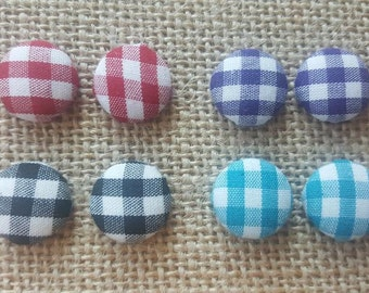 Handmade Fabric Button Earrings- Checker Fabric