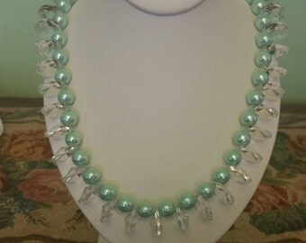 Mint green pearl and crystal necklace