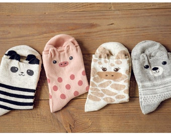 Set of Two Pairs ANIMAL Panda Bear Giraffe Socks - Multi Color/ Optical/ Cute/ Animal
