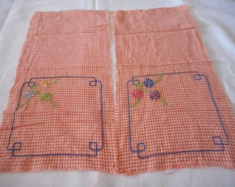Orange Gingham Vintage Embroidery Cloth to Finish