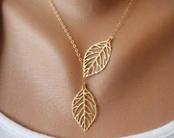 Elegant Double Leaf Necklace