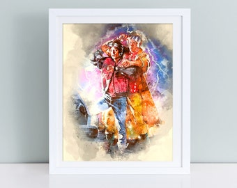 Back to the Future print, Back to the Future poster, Back to the future print, Doc Brown, Marty McFly, movie watercolor poster, digital
