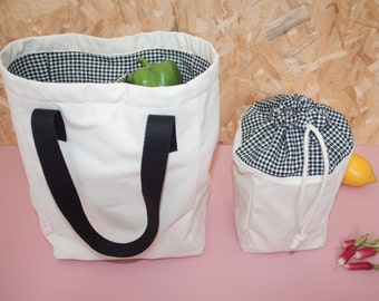Bag of 2 compartments + bag fruits & vegetables market