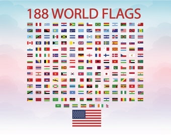 World flags SVG cutting file, Flags 188 countries SVG vector, American USA flag vector cutting machine file, Adobe illustrator national flag