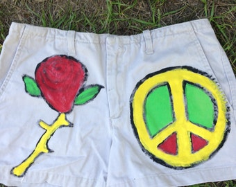 hand painted jean shorts