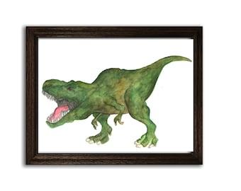 Dinosaur T-rex Print of Hand Painted Watercolor Art 8 x 11