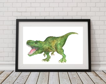 Dinosaur T-rex Print of Hand Painted Watercolor Art 8 x 11