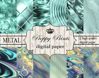 Digital paper pack, Printable paper pack, Scrapbook patterns, Digital collage sheets, Turquoise mint papers, Metallic digital paper