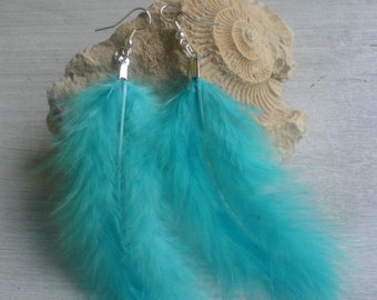 Earrings blue feathers