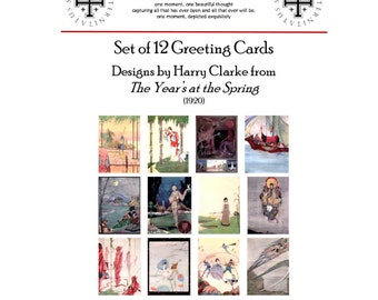 Harry Clarke - The Year's at the Spring: 12 Deluxe Greeting Cards with Envelopes