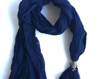 Navy cotton scarf
