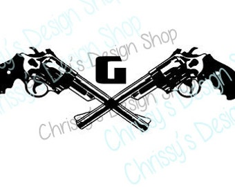 Pistol svg / gun svg / monogram pistol svg / Single letter monogram gun svg / pistol eps dxf file / pistol silhouette / print and cut file