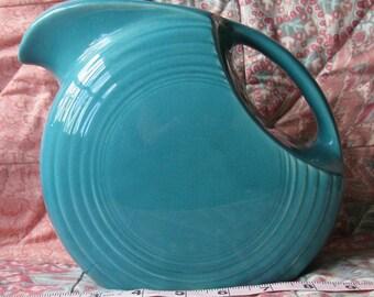 Vtg. HLC Fiestaware Turquoise Disk Pitcher