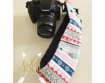 Aztec & Navy blue camera strap cover