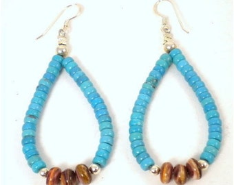 Turquoise Spiny Oyster Silver Hook Earrings