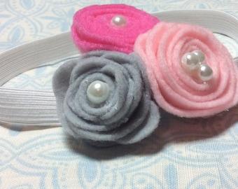 Baby Flower Headband, Baby Headband, Felt Flower Headband, Pink And Gray Flower Headband, Newborn Headband, Baby Shower Gift, Baby Gift