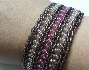 Purple lacey herringbone bracelet