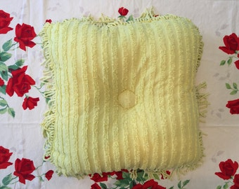 """18""""x18"""" Chartreuse Chenille Throw Pillow"""