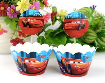 Cars Cupcake Wrappers and Toppers-Set of 12