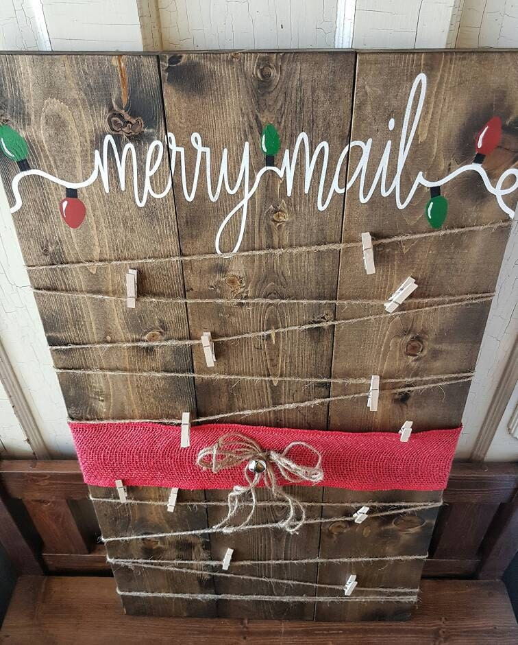 Christmas Card Holder Christmas Decor Merry Mail Christmas