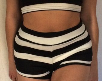 Crop top and shorts set black and white stripe
