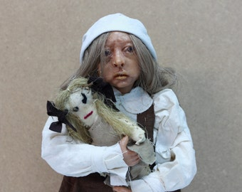 OOAK art doll, GIRL with rag doll, polymer clay sculpture, colletible doll, handmade doll