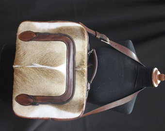 Laptop bag made of leather with genuine Springbok skin