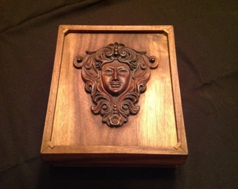 Handmade Wooden Walnut Box with Mystical Portrait Carving